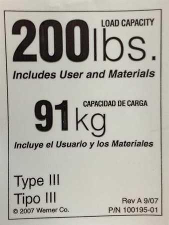 Werner Co Ldr200 200lb Rated Ladder Label New South Construction